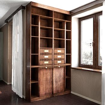 Practical wooden Bookshelf 3D model