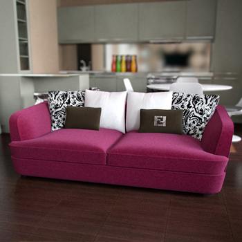 Modern pink double seats sofa