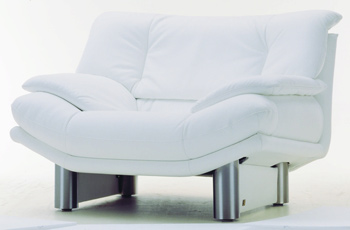 Modern White Single Metal base fabric sofa