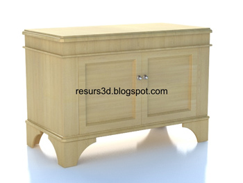 European-style wood cabinet 3D Model