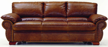 Modern brown three seats leather sofa