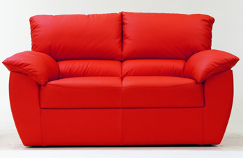 Modern red double seats fabric sofa