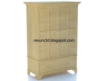 European-style wooden cabinet 3D model