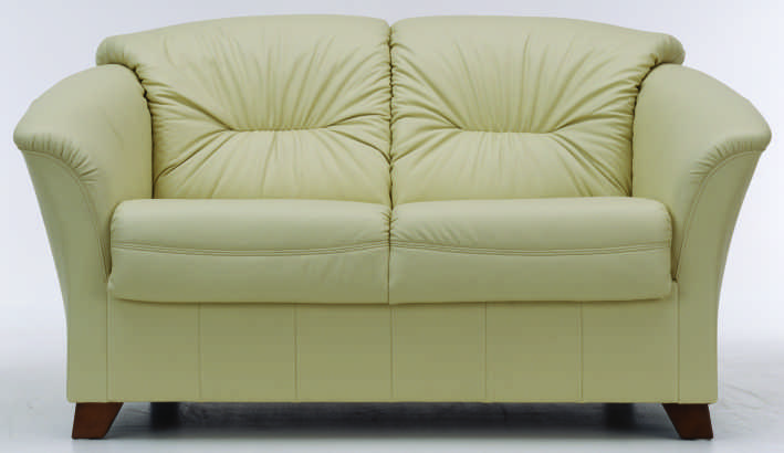 European-style double seats white leather sofa