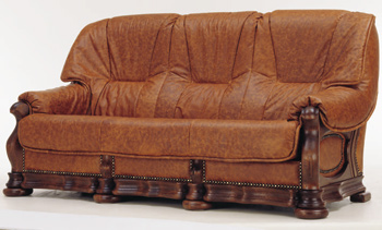 Three seats leather brown sofa