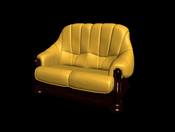 European-style double yellow leather sofa