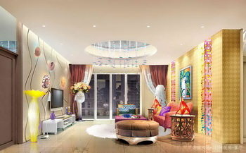 Lively and bright colors living room