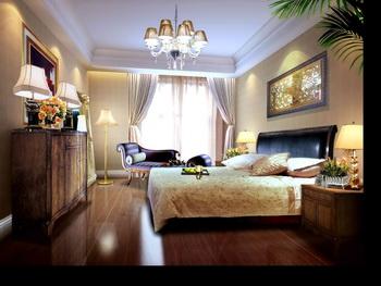 Dark solid wood retro bedroom