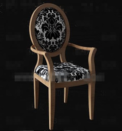 Black flower fabric wooden chair