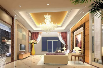 Modern golden warm tone living room