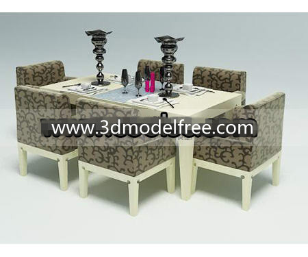 Simple wooden dining table and chairs combination
