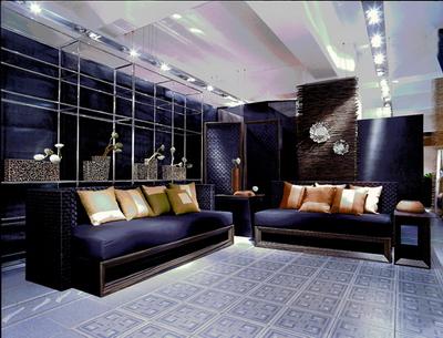 Dark blue cloth soft sofa