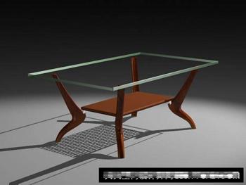 Wooden glass tea table 3D Model