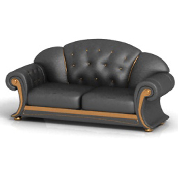 More than old-fashioned leather sofa 3D model Free Download