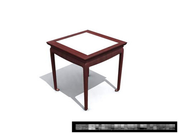 3D Model of Chinese wooden bench