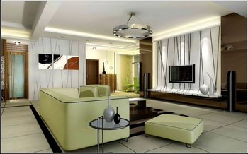 Modern dark and light color mixed living room