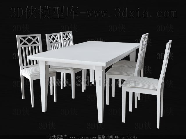 White square table and chairs