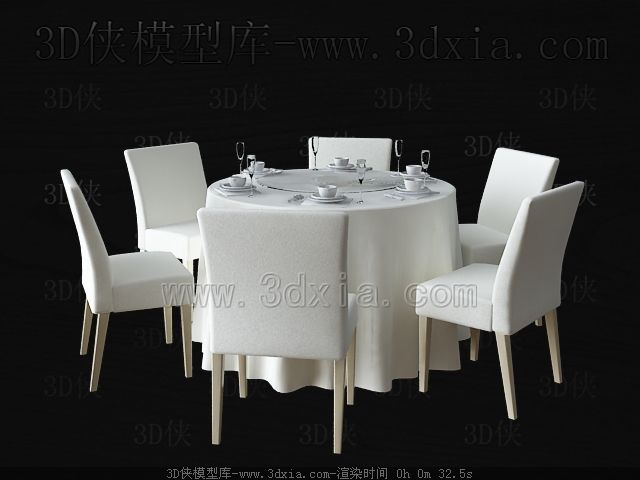 Simple round white table and chairs