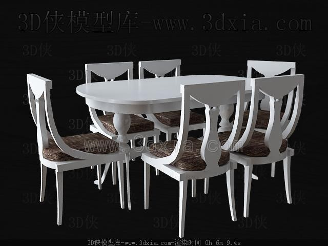 White wooden Dining table and chairs