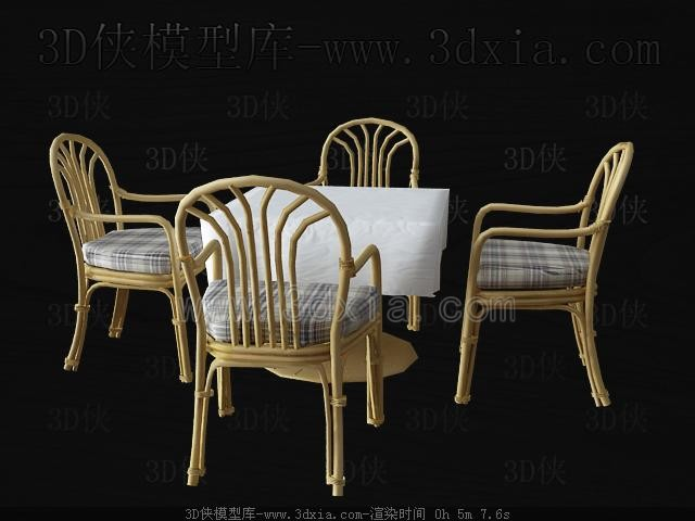 Wicker chairs and dining table