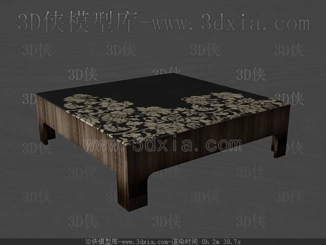 Dark color wooden square tea table