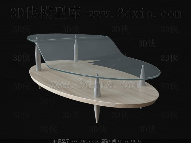 Wooden glass combination tea table