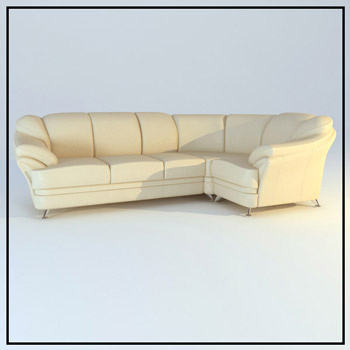 Beige leather corner sofa