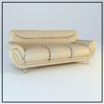 Three people leather sofa model