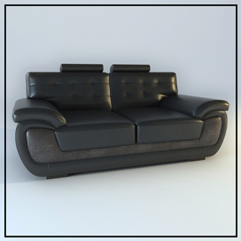 Black leather double sofa