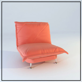Red leather single sofa