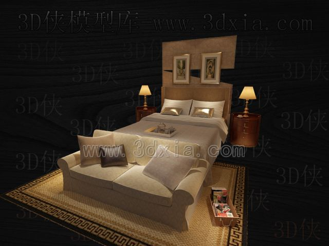 Double beds with lamps 3D models-14
