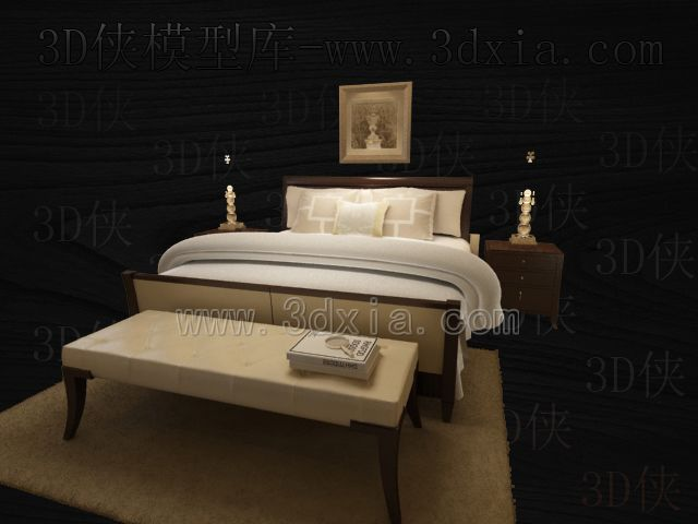 Double beds with lamps 3D models-7