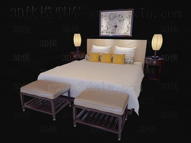 Double beds with lamps 3D models-6