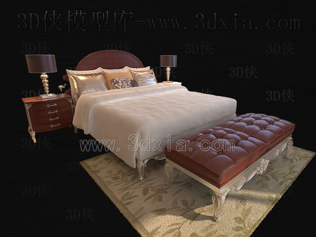 Double beds with lamps 3D models-4