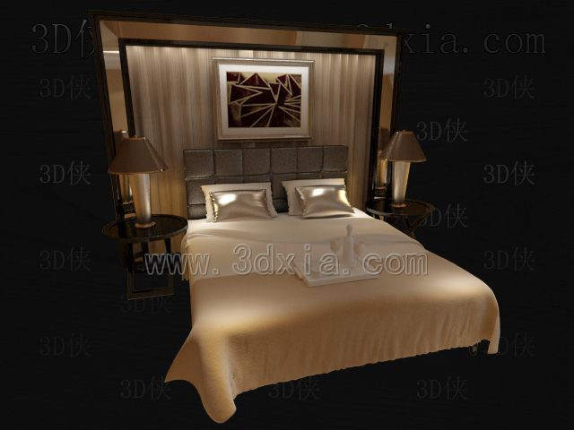 Double beds with lamps 3D models-3