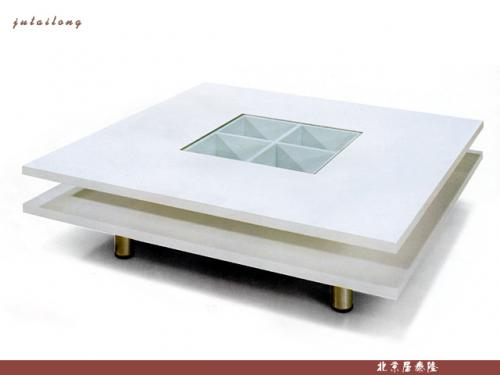 White square wood coffee table