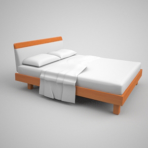 Contracted xi mengsai mattess wooden bed 3D models
