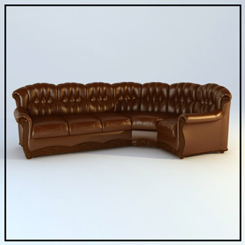 Brown multiplayer leather sofa 3D models