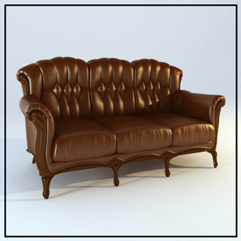 European leather seater sofas 3D models