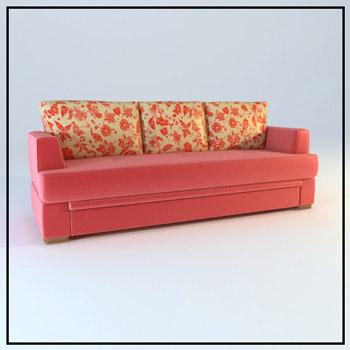 Double pink household soft cloth art sofa 3D models