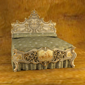 European luxury woodcarving bed 3D models