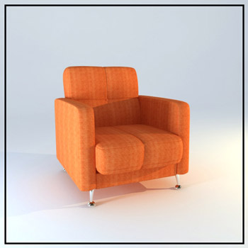 The orange cloth single recreational sofa chair 3D models