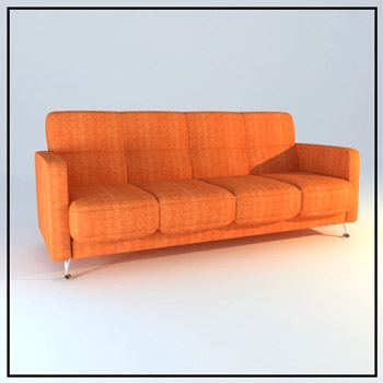 Orange multiplayer cloth art sofa 3D models