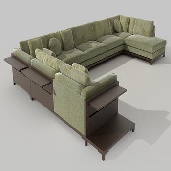 Green whole cloth art sofa combination 3D models