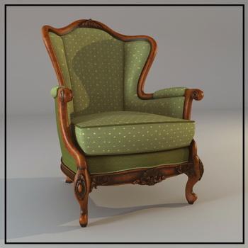 Europe type sofa cloth art single green wooden 3D models