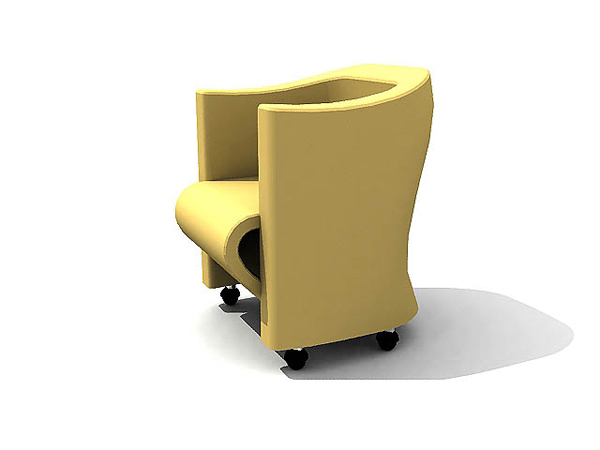 Chinese single yellow sofa chair with wheels