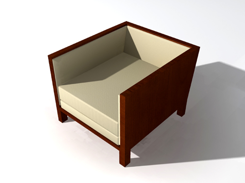 Solid wood outer frame cloth art sofa 3D models