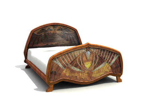 Butterfly wooden sculpture art bed 3D models