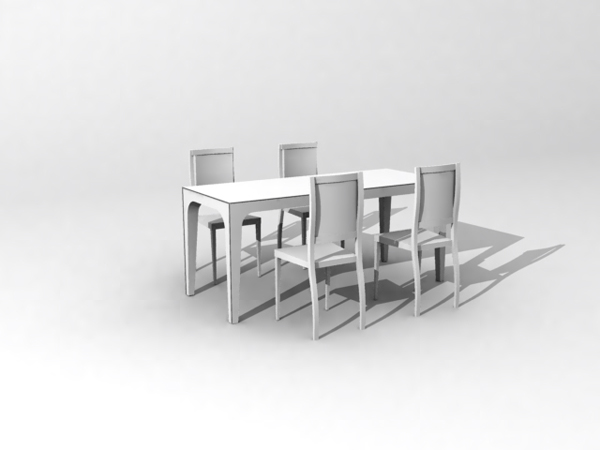 European-style combination of white tables and chairs