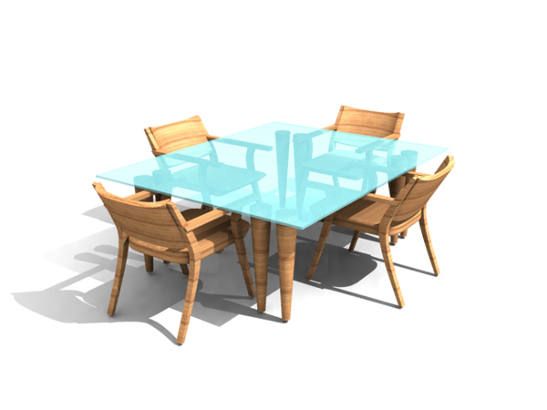 Combination of Chinese wooden rectangular tables and chairs